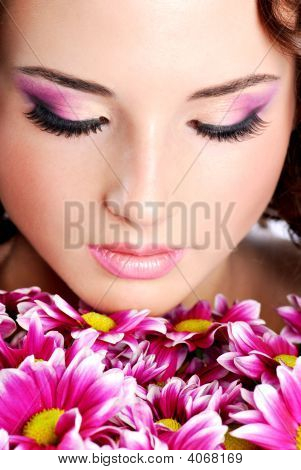 Woman Face With Chrysanthemum