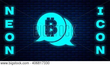 Glowing Neon Cryptocurrency Coin Bitcoin Icon Isolated On Brick Wall Background. Physical Bit Coin.