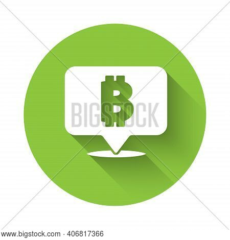 White Cryptocurrency Coin Bitcoin Icon Isolated With Long Shadow. Physical Bit Coin. Blockchain Base