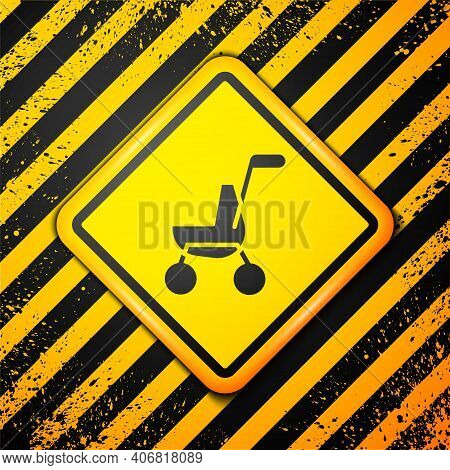 Black Baby Stroller Icon Isolated On Yellow Background. Baby Carriage, Buggy, Pram, Stroller, Wheel.
