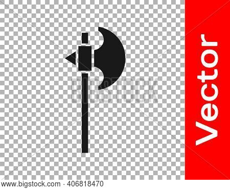 Black Medieval Axe Icon Isolated On Transparent Background. Battle Axe, Executioner Axe. Medieval We