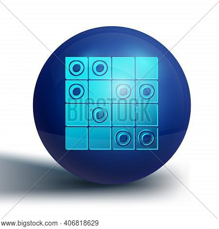 Blue Board Game Of Checkers Icon Isolated On White Background. Ancient Intellectual Board Game. Ches