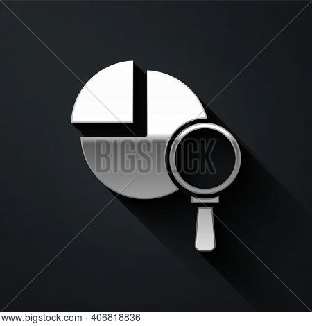 Silver Magnifying Glass And Data Analysis Icon Isolated On Black Background. Long Shadow Style. Vect