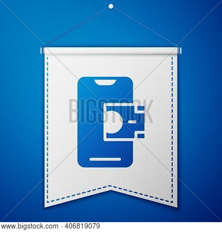 Blue Mobile Banking Icon Isolated On Blue Background. Transfer Money Through Mobile Banking On The M
