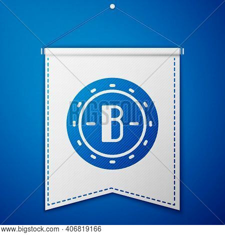 Blue Cryptocurrency Coin Bitcoin Icon Isolated On Blue Background. Physical Bit Coin. Blockchain Bas