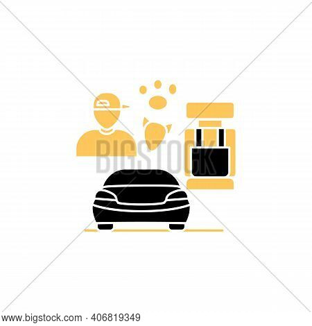 Dog Car Seat Glyph Icon. Help Small Dogs See Out Window While Staying Restrained In Back Seat. Prote