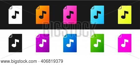 Set Music Book With Note Icon Isolated On Black And White Background. Music Sheet With Note Stave. N