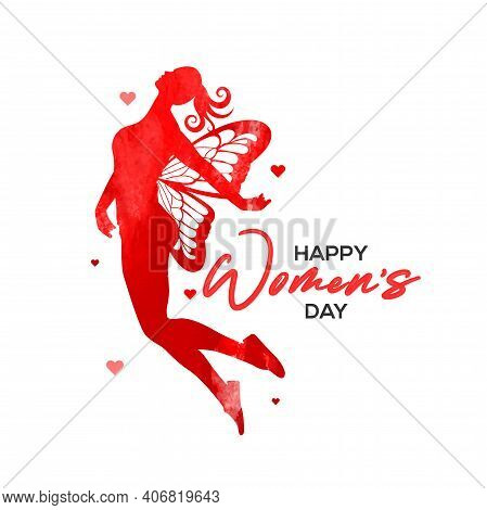 Happy Women's Day Holiday Illustration. Water Color Flying Woman With Wings For Happy Womens Day. Sq