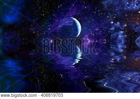 Nebula And Galaxies In Space. Deep Reflected Space In Water , Space Many Light Years Far From The Ea