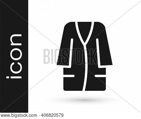 Black Bathrobe Icon Isolated On White Background. Vector