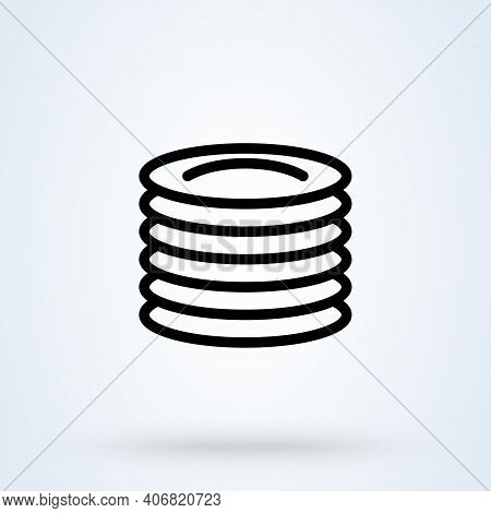 Plates Line Sign Icon Or Logo. Plate Of Food Concept. Restaurant Plates Linear App Vector Illustrati