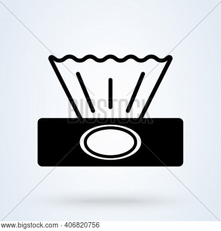 Tissue Box Sign Icon Or Logo. Wet Wipes Concept. Hygiene Tissue App Vector Illustration.