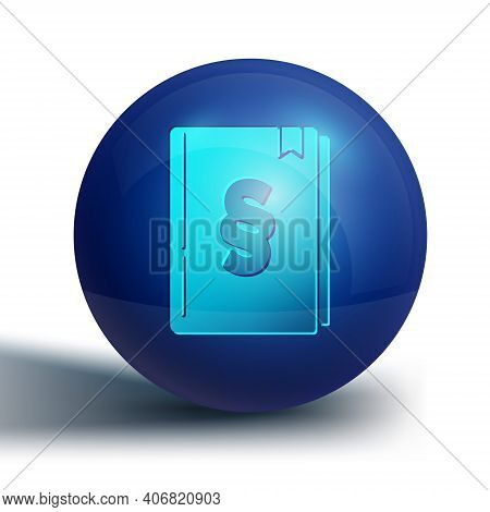 Blue Law Book Icon Isolated On White Background. Legal Judge Book. Judgment Concept. Blue Circle But