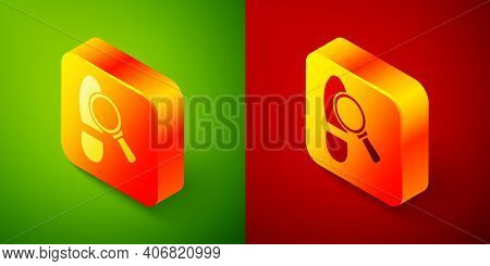Isometric Magnifying Glass With Footsteps Icon Isolated On Green And Red Background. Detective Is In
