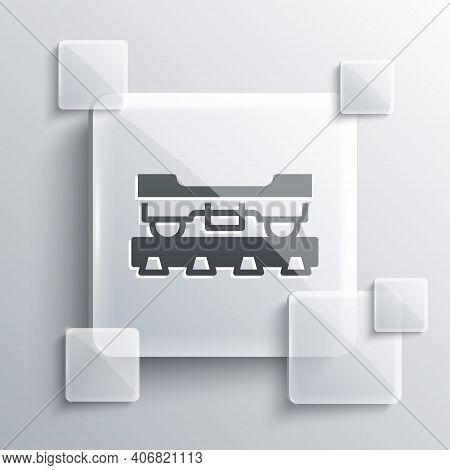 Grey Cargo Train Wagon Icon Isolated On Grey Background. Freight Car. Railroad Transportation. Squar
