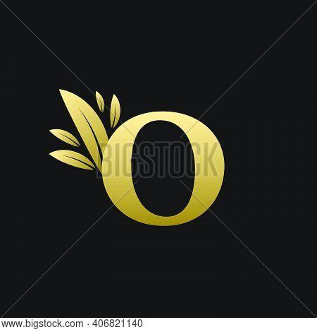 Golden Initial Letter O Leaf Logo, Alphabet O Vector Illustration