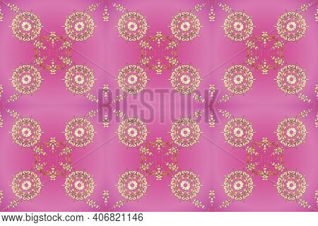 Classic Vintage Background. Traditional Orient Ornament. Golden Pattern On Beige And Pink Colors Wit