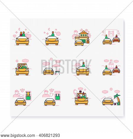 Getaway Car Color Icons Set. Relax And Travel By Automobile Concept. Contains Such Icons As Garage,