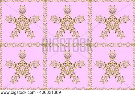 Raster Illustration. Raster Abstract Background With Repeating Elements. Seamless Damask Classic Gol