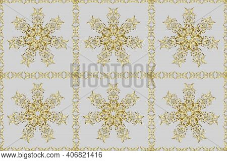 Golden Seamless Pattern On Gray And Neutral Colors With Golden Elements. Seamless Damask Classic Gol