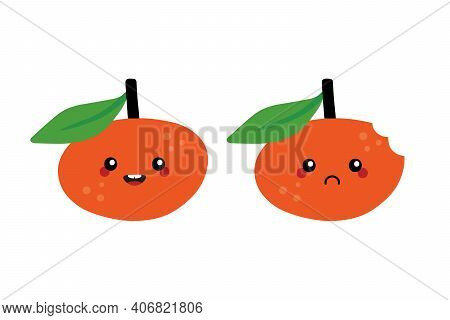 Cute Cartoon Style Clementine, Mandarin Characters, Happy Smiling And Sad With Bite Mark.