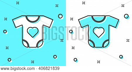 Black Line Baby Clothes Icon Isolated On Green And White Background. Baby Clothing For Baby Girl And