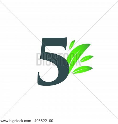 Number Five Logo With Green Leaves. Natural Number 5 Logo With Green Leaf.