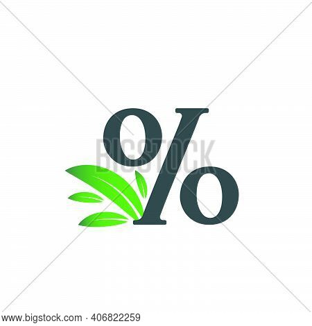 Percentage Sign Logo With Green Leaves. Percentage Character % Logo With Green Leaf.