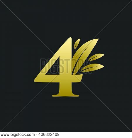 Golden Number Four Logo With Gold Leaves. Natural Number 4 Logo With Gold Leaf.