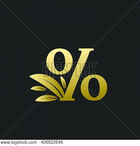 Golden Percentage Sign Logo With Gold Leaves. Percentage Character % Logo With Gold Leaf.