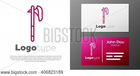 Logotype Line Medieval Axe Icon Isolated On White Background. Battle Axe, Executioner Axe. Medieval