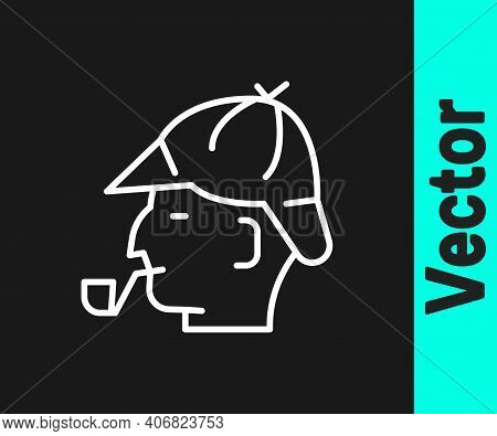 White Line Sherlock Holmes With Smoking Pipe Icon Isolated On Black Background. Detective. Vector
