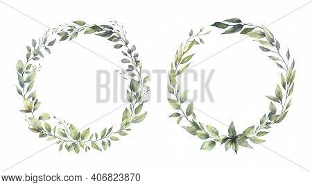 Watercolor Floral Illustration Set - Green Leaf Frame Collection, For Wedding Stationary, Greetings,