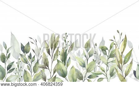 Watercolor Floral Illustration Set - Green Leaf Branches Collection, For Wedding Stationary, Greetin