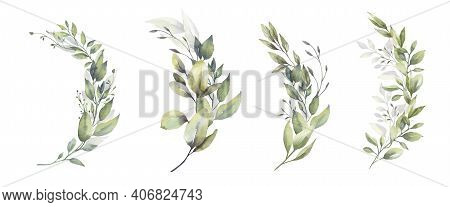 Watercolor Floral Illustration Set - Green Leaf Branches Bouquets Collection, For Wedding Stationary
