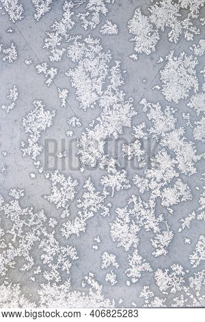 White Melting Frost On The Frozen Window Glass In The Cold Winter Day As Natural Background Front Vi