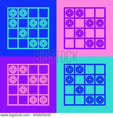 Pop Art Line Board Game Of Checkers Icon Isolated On Color Background. Ancient Intellectual Board Ga