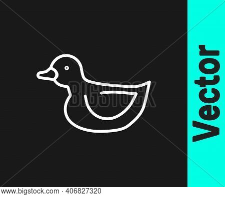 White Line Rubber Duck Icon Isolated On Black Background. Vector