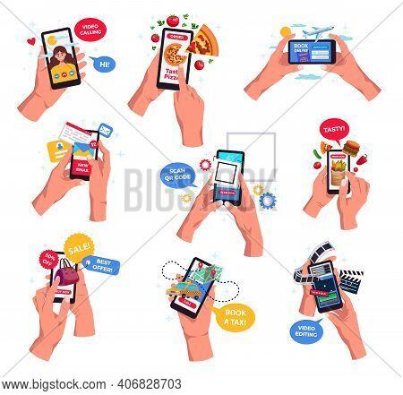 Hands Holding Smartphones Video Calling Scanning Barcode Booking Tickets Online Messaging Social Net