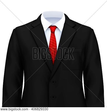 Mans Suit Realistic Composition With Isolated Image Of Smart Costume With White Shirt Tie And Jacket
