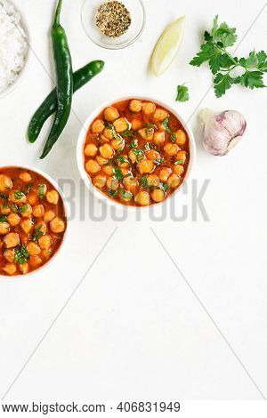 Indian Style Roasted Chickpeas In Bowl Over White Background With Free Text Space. Vegetarian Vegan
