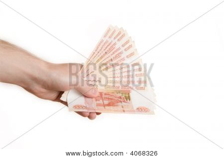 Hand Hold Out Russian Money