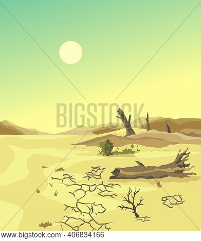 Climate Change Desertification Illustration. Global Environmental Problems. Hand Drawn Effect Of Ari