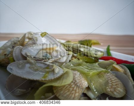 Simple Dish Of Asian Saltwater Clam Or Locally Known As Lala With Chilli, Lemongrass And Garlic In C