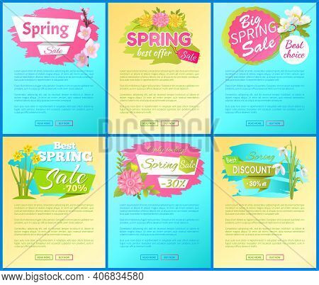 Best Offer Spring Big Sale Advertisement Landing Pages Set, Daisy Cherry Daffodil Snowdrop Anemone F