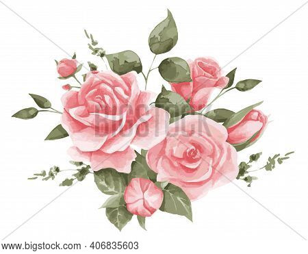 Vector Illustration Of A Composition Of Delicate Roses. Pink Roses For Textiles, Decor And Festive,