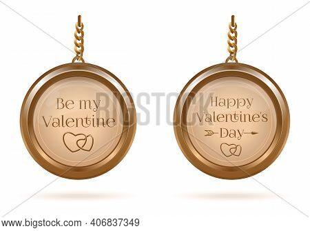 Gold Medallions Set With Valentines Day Lettering. Be My Valentine. Happy Valentine's Day. Vector Il