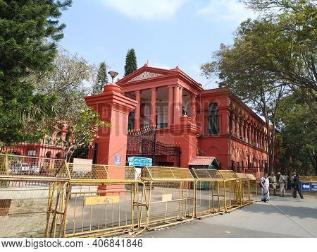Closeup Of Beautiful Red Color Famous High Court Of Karnataka Entrance Arch And Gate