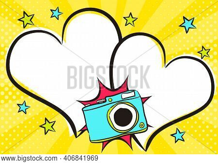 Love Pop Art Bright Comic Double Heart Frame With Camera. White Box For Text In The Shape Of A Heart
