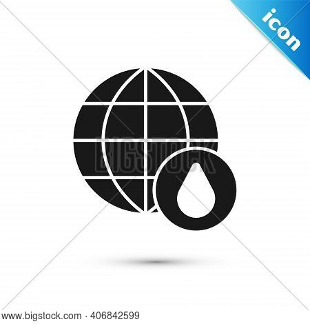 Grey Earth Planet In Water Drop Icon Isolated On White Background. World Globe. Saving Water And Wor